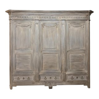 18th Century French Louis XVI Neoclassical Whitewashed Oak Armoire