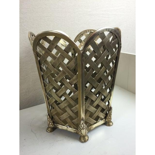 Vintage Woven Brass Wastebasket - Image 2 of 6