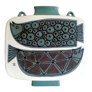 Vintage Rare Mid Century Modernist Scandinavian Art Pottery Double Fish Ceramic Vase For Sale