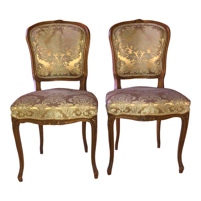 1950s Louis XV Style Champagne Gold Fabric Chairs - a Pair For Sale