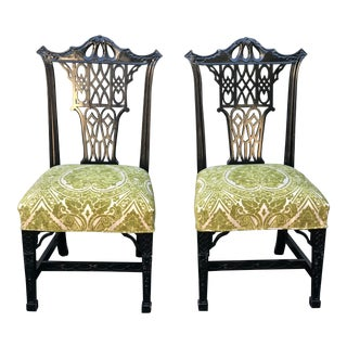 Pair of Hollywood Regency Style Chinese Chippendale Black Lacquer Chairs For Sale