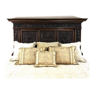 Antique Italian Renaissance Walnut Headboard For Sale