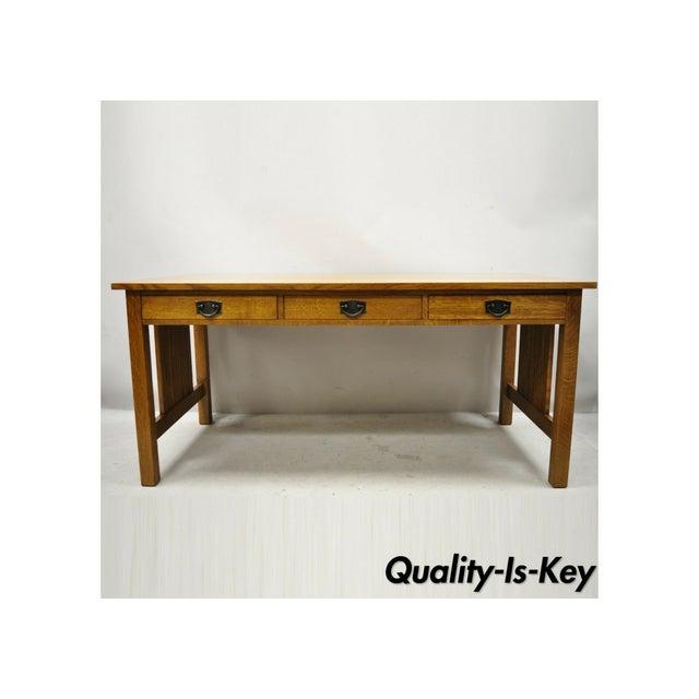 """Stickley Mission Collection Fayetteville Oak 66"""" Spindle Library Office Desk For Sale - Image 12 of 12"""
