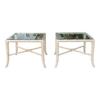 1970s Vintage Hollywood Regency Bamboo Side Tables-a Pair For Sale