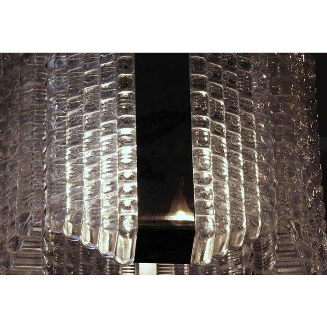 1960s Mid-Century Glass Chrome Pendant Light For Sale - Image 4 of 8