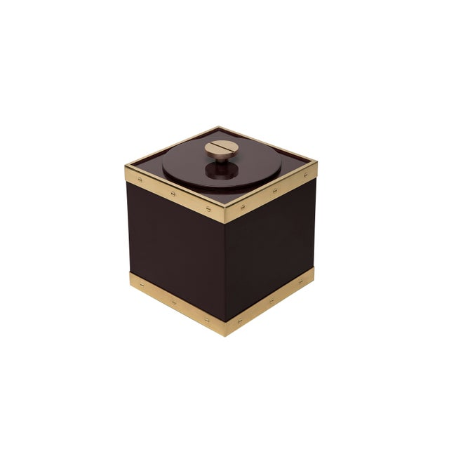 The Lacquer Company Edge Ice Bucket in Brown / Brass - Flair Home for The Lacquer Company For Sale - Image 4 of 5