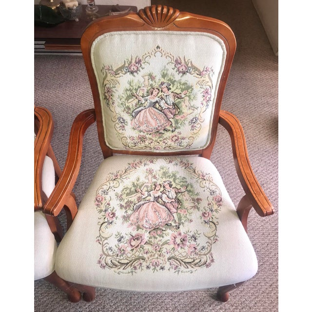 French Provincial Tapestry Salon Chairs - A Pair For Sale - Image 4 of 13