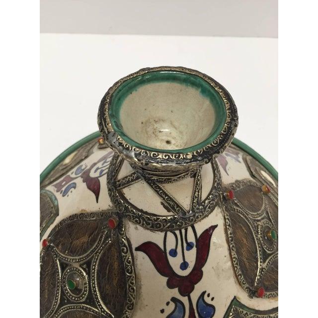 Islamic Moroccan Ceramic Tajine From Fez Polychrome For Sale - Image 3 of 10