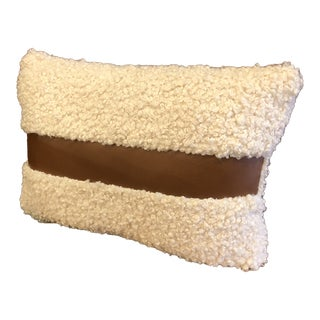 Cream Boucle Faux Sherling & Leather Stripe Lumbar Pillow For Sale