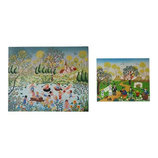 Modernist Celebratory Life Scene Paintings - a Pair For Sale