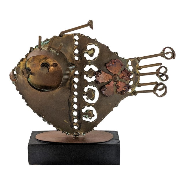 Jere Style Bronze and Brass Fish Sculpture For Sale