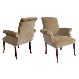 Stylish Pair of American, 1940s Beechwood Fauteuils by Grosfeld House
