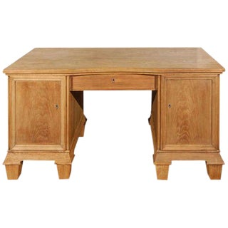 Oak Two Pedestal Desk circa 1930's For Sale