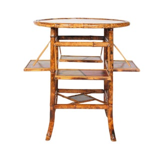 1950s Japanese Painted Bamboo Table For Sale