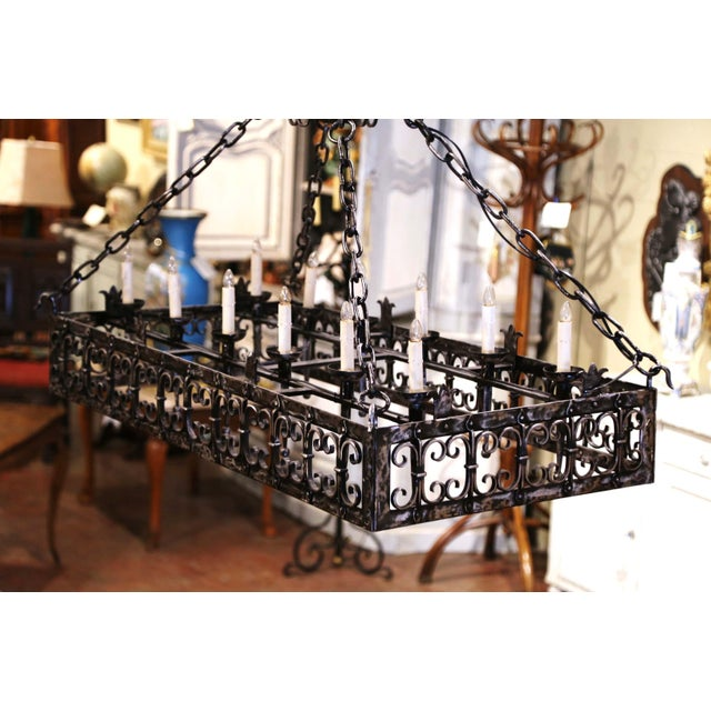 19th Century French Gothic Forged Polished Iron Ten-Light Island Chandelier For Sale - Image 12 of 13