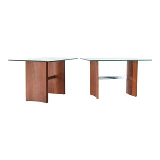 Vladimir Kagan for Selig Walnut, Glass, and Chrome Side Tables - a Pair For Sale