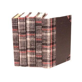 Bespoke Glen Plaid Books - Set of 5 For Sale