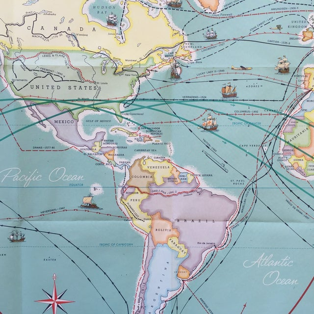 Vintage Map Journeys of Discovery and Exploration - Image 8 of 9