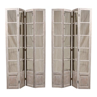 Mirrored Painted Wood Screens-a Pair For Sale
