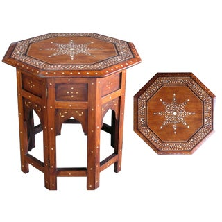 Intricately Inlaid Octagonal Anglo-Indian Traveling Table