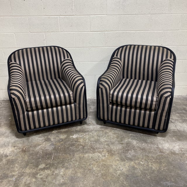 """""""Fendi"""" Striped Club Chair's - a Pair For Sale - Image 12 of 12"""