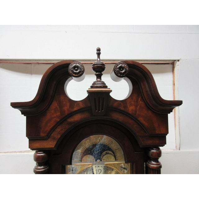 Cherry Flame Mahogany Broken Arch Grand Fathers Clock For Sale In Philadelphia - Image 6 of 10