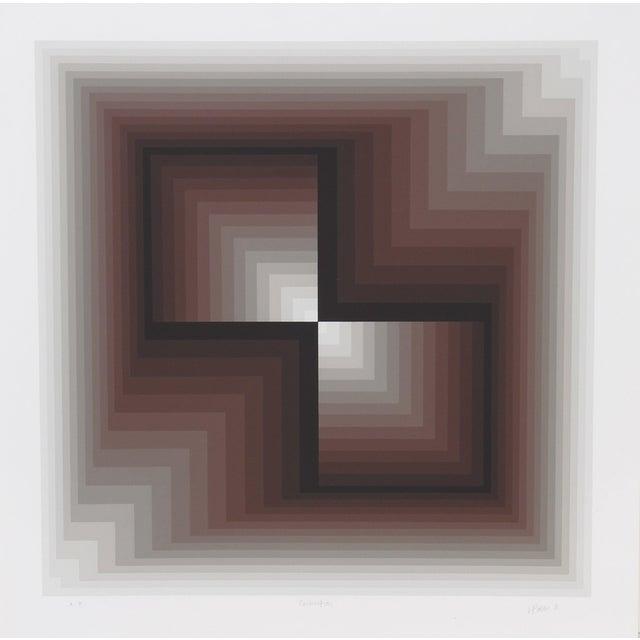 """Jurgen Peters, """"Contraction"""", Op Art Screenprint For Sale"""