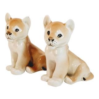 Vintage Mid Century Lomonosov Porcelain Lion Figurines- A Pair For Sale