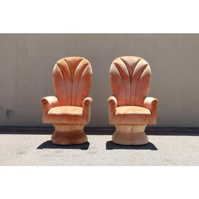 Velvet Highback Swivel Chairs - A Pair - Image 3 of 10
