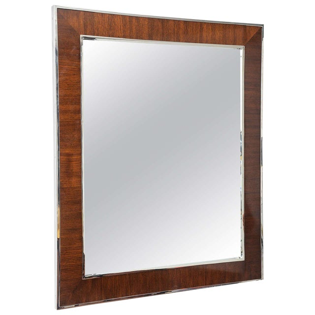 Karl Springer Style Mirror with Polished Chrome and Mahogany Frame, 1980s - Image 1 of 10