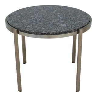 Mid-Century Modern Geiger Metal Series Round Brown Granite Top Occasional Table For Sale