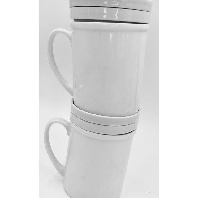 Japanese Ceramic Porcelain White Tea Leaf Cups a Pair Set of Two 2 Lid Infuser Strainer Builtin Antique Vintage For Sale In Los Angeles - Image 6 of 7