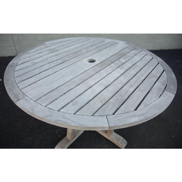 "Wood Weather Master Weathered Teak 48"" Round Patio Dining Table For Sale - Image 7 of 12"