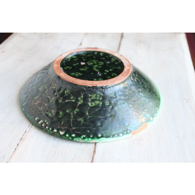 Green Vintage French Glazed Earthenware, Studio Pottery Low Bowl For Sale - Image 8 of 9
