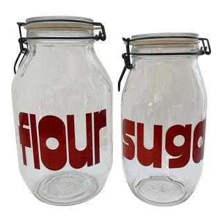 Vintage Mid Century Glass Canisters Flour and Sugar, the Set of 2 For Sale