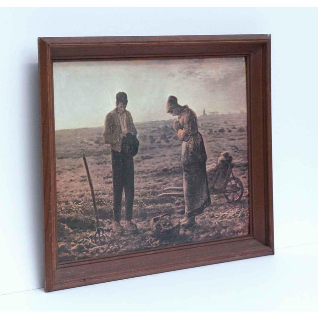 Wood framed replica of the famous Prayer at Harvest painting. Shows wear from age and use.