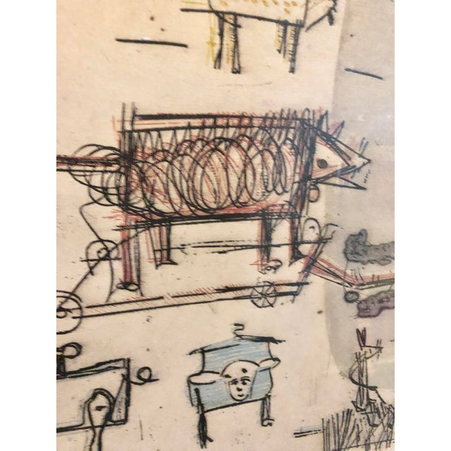 """Sky Blue 1963 """"Artists Sketch Book"""" 7/25 Original Itaglio by Malcolm H. Myers, Framed For Sale - Image 8 of 13"""