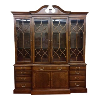 Vintage Hickory Chair Mahogany Breakfront China Cabinet For Sale