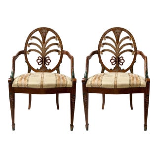 Pair of Regency Style Painted Italian Arm Chairs For Sale