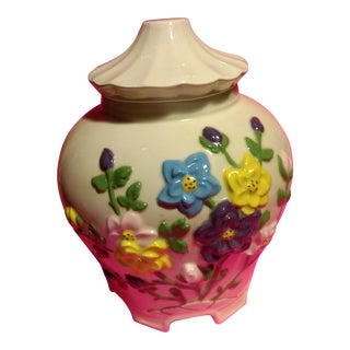 1977 Vintage Americana White Embossed Floral Bisquit Jar For Sale