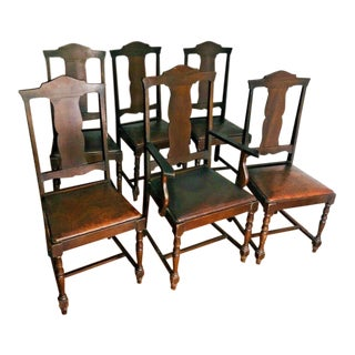 1900s Vintage American Gumwood Dining Chairs W/ Leather Embossed Seats - Set of 6 For Sale