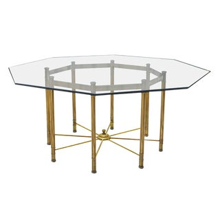 Octagon Brass and Glass Dining Table by Mastercraft For Sale