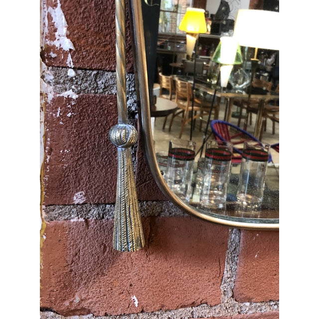 Brass Italian Curvilinear Brass Mirror, 1950s For Sale - Image 7 of 9
