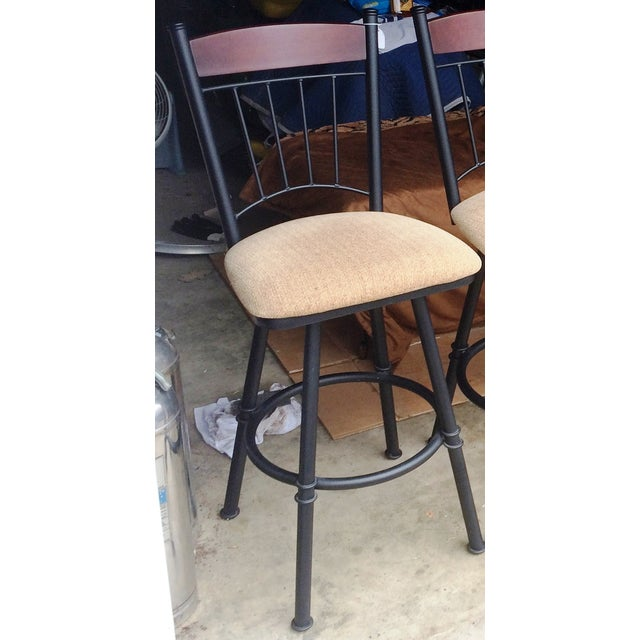 Swivel Metal Bar Stools With Cushion - Set of 4 - Image 6 of 7