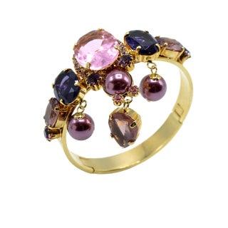 Justin Joy Costume Runway Gold Leaf Bracelet in Violet and Pink For Sale