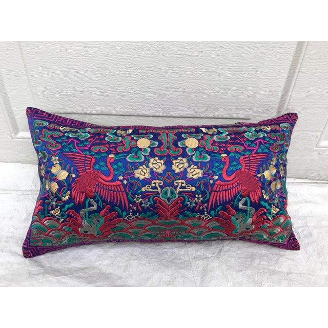 Chinese Chinoiserie Pink Silk Crane Embroidered Boudoir Pillow - Image 2 of 8