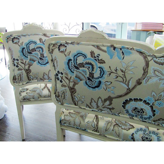 Boho Chic Floral Upholstered French Settee & Arm Accent Chair For Sale - Image 3 of 8