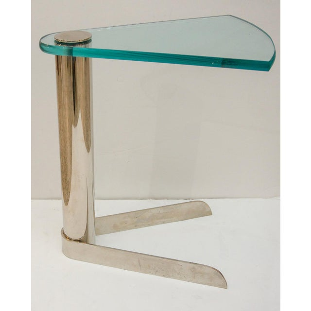 Contemporary Glass and Stainless Steel Drinks Table by Pace Furniture For Sale - Image 3 of 8