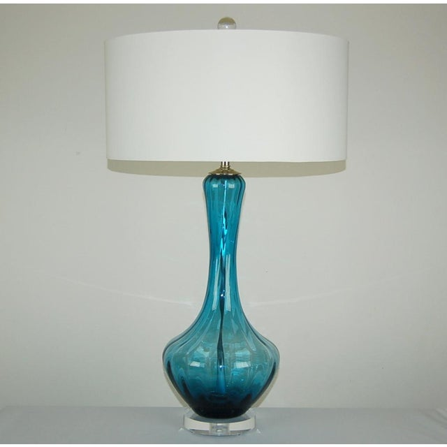 Glass Vintage Italian Glass Petticoat Table Lamps Teal Blue For Sale - Image 7 of 10