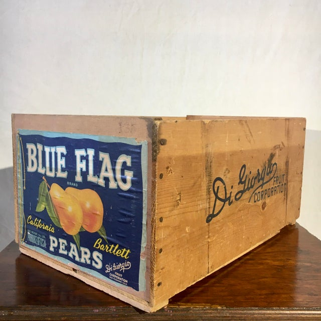 Blue 1950s Blue Flag Fruit Crate For Sale - Image 8 of 8